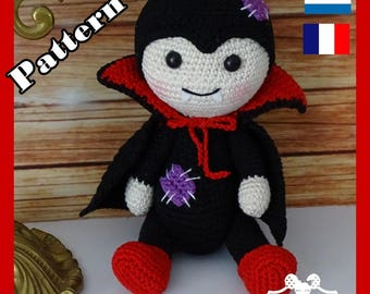 Crochet Pattern, pattern, tutorial, Amigurumi Hemo the Vampire