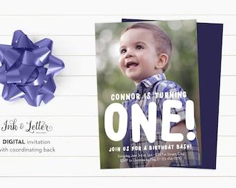 First Birthday Invitation - Photo Birthday Invitation - Boy Birthday Invitation - Custom Birthday Invites - Digital Invitations - Full Photo