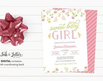 Floral Baby Shower Invitations - It's a Girl - Baby Shower Invitation for Girl - Girl Baby Shower Invites - Printable Invitation