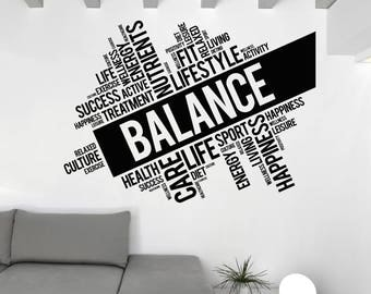 Wall Art Mural Words Cloud Balance Life Lifestyle Nutrients and Others 2510dz