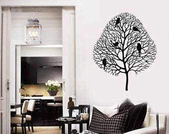 Tree Vinyl Wall Decal Birds Branches Home Room Decor Art Stickers Mural (#2620di)