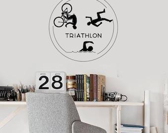 Triathlon Vinyl Wall Decal Triathletes Sport Swimming Cycling Running Stickers Mural (#2711di)