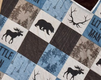 little man, rustic, bear, moose, plaid quilt, minky quilt, woodland nursery, deer nursery, adventure, modern nursery, toddler quilt