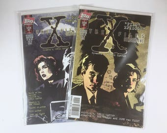 2 X-Files Comics, Pilot Episode, Deep Throat, Season One, Agent Mulder, Scully, Vintage Topps Comics, Mint, Truth is Out There, UFOs, Aliens