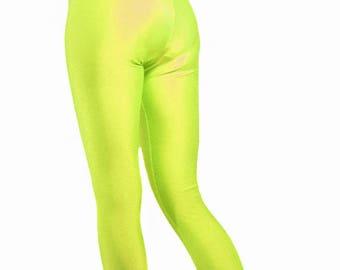 High waisted spandex leggings neon yellow