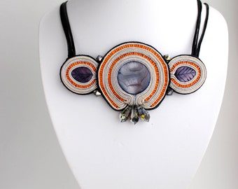 Gift for|her Stone necklace, Coin pearl necklace, Soutache necklace Black orange jewelry Mother of pearl necklace. Inspirational Imagination