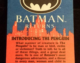 """Vintage 1992 Topps Batman Returns Trading Card, """"Introducing The Penguin"""" #3"""