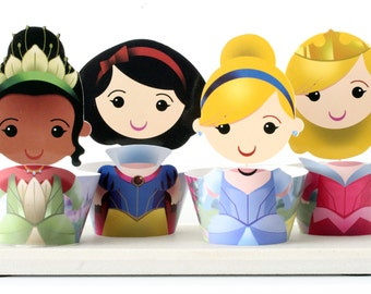 Princess Cupcake Toppers Wrappers, Cinderella, Snow White, Aurora, Princess Frog, Sleeping Beauty Birthday Party Decoration - 12 Characters