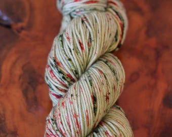"""Hand Painted """"Speckled Guac and Tomatoes"""", DK, Knitting, Crochet, Speckles, Yarn"""