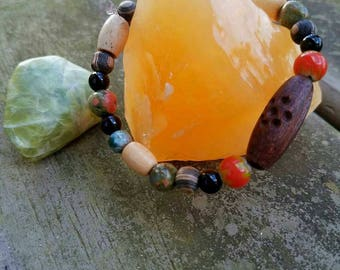 Funky Stretch Beaded Bracelet with Black and Unakite Jasper