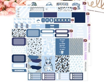 Monday Blues Vertical Weekly Kit - Planner Stickers, for use in ERIN CONDREN LIFEPLANNER ™, Happy Planner, Vertical Inserts.