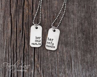 Her One, Her Only mini dog tag couple's style necklace, gay lesbian couples necklaces set , with anniversary date