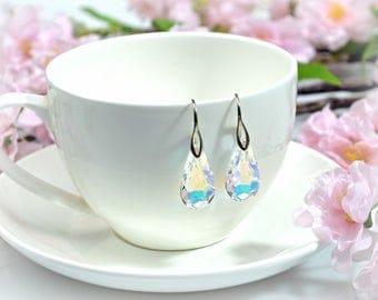 Swarovski earrings Crystal AB pear shape teardrop bridesmaid earrings gift for her