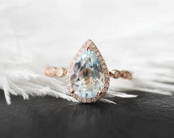 14K Rose Gold 8x12mm Pear Cut Aquamarine Engagement Ring Stackable Halo Diamond Aquamarine Ring Unique Wedding Ring Promise Ring Bridal Ring