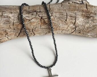 hematite cross pendant necklace