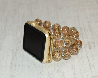 Apple watch band // lampwork glass beads apple watch accessories 38mm / 42mm apple watch strap lugs adapter - iwatch band women
