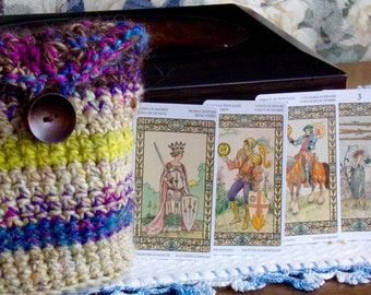 Harmonious Tarot Mini Deck & Bag, Tarot Deck, Crocheted Bag, Mini Tarot and Bag