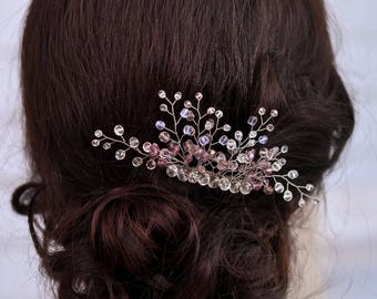 Wedding hair comb Bridal white comb Woman hair pin Bridesmaid hairpiece Bridal hair clip Wedding jewelry Bridesmaid gift Wedding headpiece