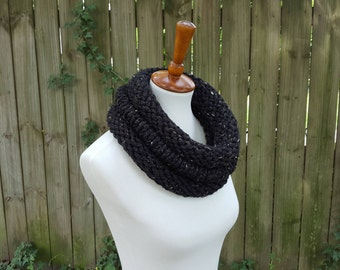 Knit Infinity Scarf, Chunky Knit Scarf, Knit Cowl, Knit Snood, The Birch Cowl, Small - Obsidian Tweed