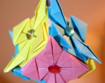 Origami Pink Blue Yellow Small Diamond Shape Kusudama Hanging Ornament