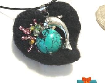 Felted Heart Pendant, Jade Dolphin Hand Beaded Pendant, Needle Felted Wool Pendant, On Trend Gift, Stylish Girlfriend Gift,Felted Heart Gift