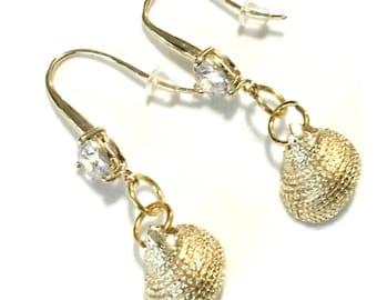 Unique Tiny Seashell Earrings, Heart Shaped Cubic Zirconia Stone on Hooks, On Trend Earrings, Beautiful Earring Gift, Tropical Seashell Gift