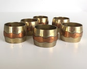 Vintage Bronze and Copper Napkin Rings - Set of Six