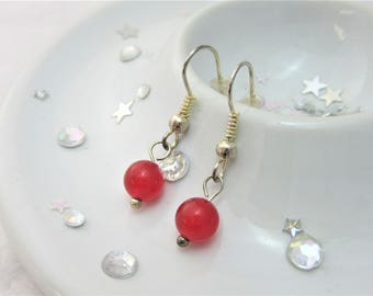Ruby Red Earrings, Hooks with Stoppers, Berries, Simple Earrings, Holly Berry, Elegant Gift, Small Dangly Earrings, Birthday, Red Sphere