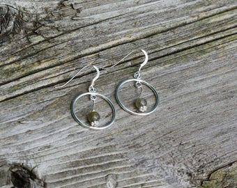 Labradorite Sterling Silver Earrings ~ Hoop Earrings ~ Stone Jewellery ~ Grey Blue Stones ~ Canadian Gemstones