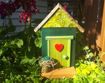 Citrus Green Fairy Door with Red Heart and Fairy Planter