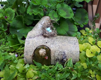 Gnome Home Green Door and Acorn Button Embellishment and Bird Nest