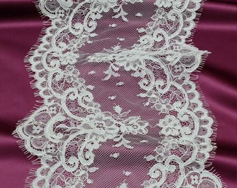 Ivory lace Trim, French Lace, Chantilly Lace, Bridal lace, Wedding Lace, Garter lace, Evening dress lace, Lingerie Lace by the yard EVSL061C