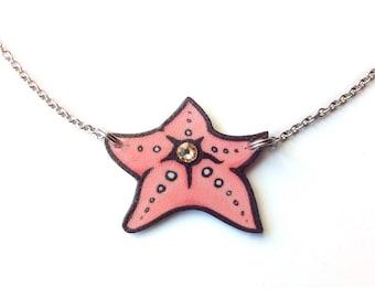 Starfish necklace, Beach pendant, Summer, Pink, Handmade jewelry, Ocean gift