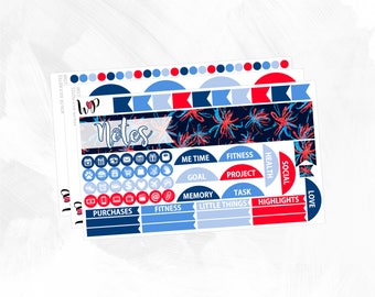 4th of July Notes Page Kit - Matte Glossy Erin Condren Planner Stickers -