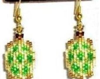 Little Turtles - Brick Stitch Earrings Beading Pattern