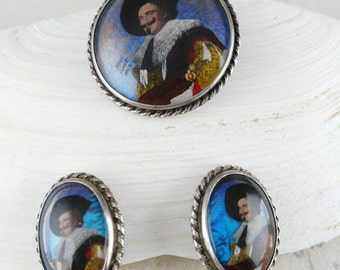 Laughing Cavalier Parure - Gift for Her Women - Art Deco Brooch - Silver Brooch Earrings