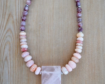 Pink Opal and Rose Quartz Pendant Necklace, Cherry Quartz, Rose Quartz, Long Necklace