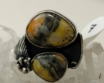 Amazing Bumble Bee Jasper Ring Size 7