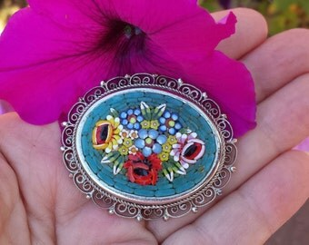 Vintage Micro Mosaic Pin Silver Filigree Mosaic Pin