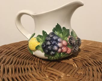 White Jug with Fruity Floral Design
