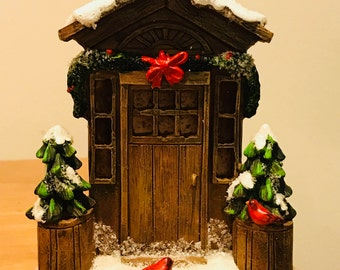 Beautifully Decorated Holiday Front Door Lights Up Festive Replica  Christmas Decorated Door Glistening Snow, Garland