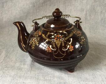 Vintage Japanese Redware Teapot, Brown Gold Trimmed Handpainted Enamel TeapPot