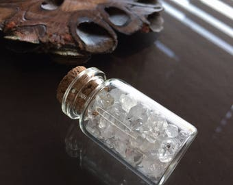 Bottle of Herkimer Diamonds, Crystals in a Bottle