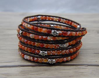 5 wraps bracelet orange agate bracelet onyx agate bead bracelet skul beads bracelet leather wrap bracelet christmas gift bracelet SL-0592