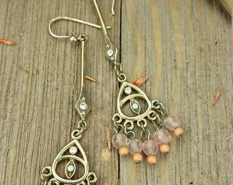 Vintage Pink and Gold Plated Chandelier Earrings