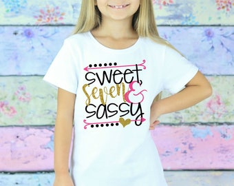Seven Birthday Shirt - 7th Birthday Girl - Seven Birthday Gift - 7 Year Old - Seven Birthday Outfit - Glitter Birthday T-Shirt