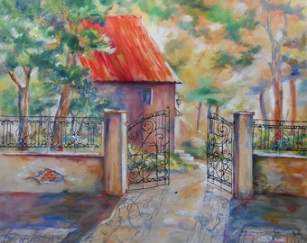 "Painting ""The House in the forged iron Railing"""