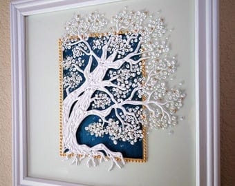 Tree of life Glass painting Wall decor Wedding gift White art White tree Impressive painting
