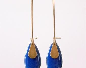 Cobalt blue enameled sequin drop earrings