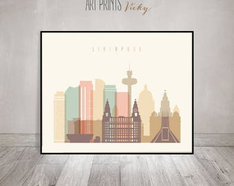 Liverpool print, Wall art, Great Britain cityscape, Liverpool skyline, City poster, Typography art Home Decor Digital Print ArtPrintsVicky